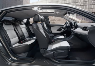 Interior view of the new Hyundai i30 Fastback, as seen from the passenger side.